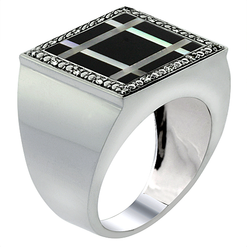 Mens 10K White Gold Natural Onyx & Mother of Pearl Ring Square Mosaic Grid Design Diamond Accent, sizes 9 - 14