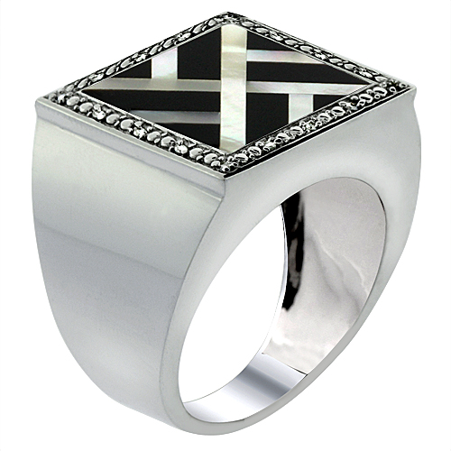 Mens 10K White Gold Natural Onyx & Mother of Pearl Ring Square Mosaic Overlap Design Diamond Accent, sizes 9 - 14