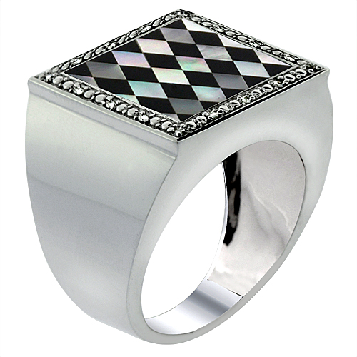 10k White Gold Diamond Natural Onyx & Mother of Pearl Mosaic Ring Square Argyle 9/16 inch wide, size 9-14