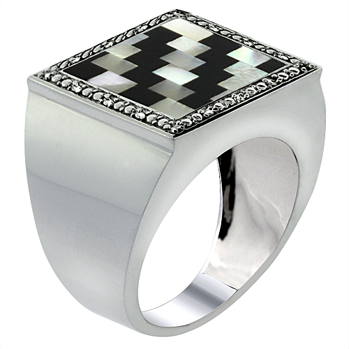 10k White Gold Diamond Natural Onyx & Mother of Pearl Mosaic Ring Jagged Stripe 9/16 inch wide,size 9-14
