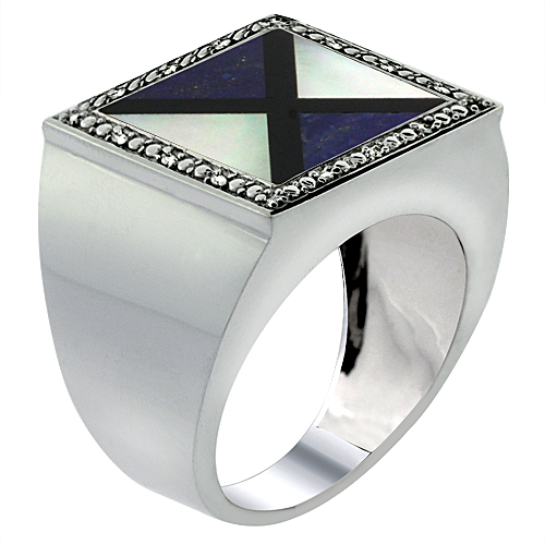 10k White Gold Diamond Natural Onyx, Lapis & Mother of Pearl Mosaic Ring Trilateral 9/16 inch, size 9-14