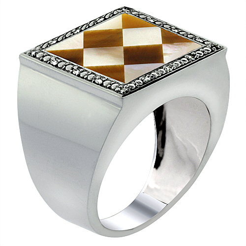 10k White Gold Diamond Natural Tiger Eye & Mother of Pearl Mosaic Ring Argyle 9/16 inch wide,size 9-14