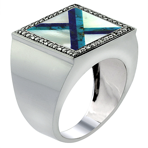 Mens 10K White Gold Natural Mother of Pearl, Lapis & Turquoise Ring Square Mosaic Trilateral Shape Diamond Accent, sizes 9 - 14
