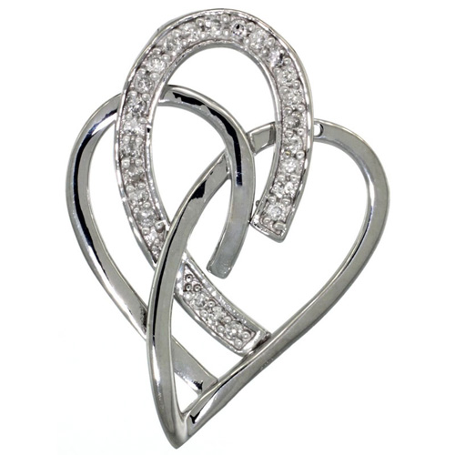 14k White Gold 18 in. Thin Chain & Interlacing Heart Cut Outs Diamond Pendant w/ 0.24 Carat Brilliant Cut ( H-I Color; VS2-SI1 Clarity ) Diamonds