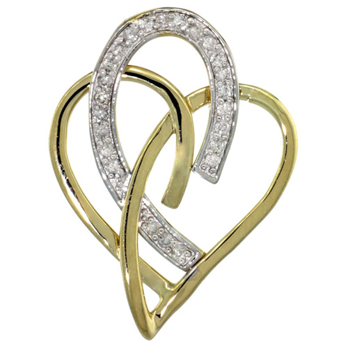 14k Gold 18 in. Thin Chain & Interlacing Heart Cut Outs Diamond Pendant w/ 0.24 Carat Brilliant Cut ( H-I Color; VS2-SI1 Clarity ) Diamonds