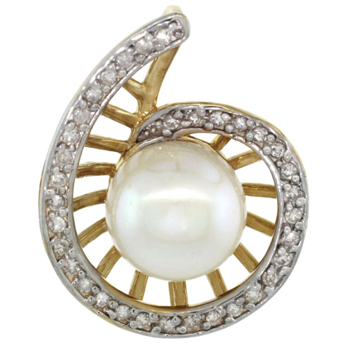 14k Gold 18 in. Thin Chain & Swirl Pearl Pendant w/ 0.19 Carat Brilliant Cut ( H-I Color; VS2-SI1 Clarity ) Diamonds & 9mm White Pearl