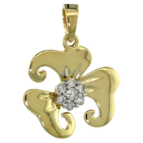 14k Gold 18 in. Thin Chain & 7-Stone Flower Pendant w/ 0.22 Carat Brilliant Cut ( H-I Color; VS2-SI1 Clarity ) Diamonds