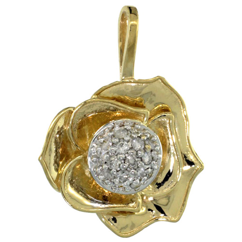 14k Gold 18 in. Thin Chain & Rose Flower Pendant w/ 0.41 Carat Brilliant Cut ( H-I Color; VS2-SI1 Clarity ) Diamonds