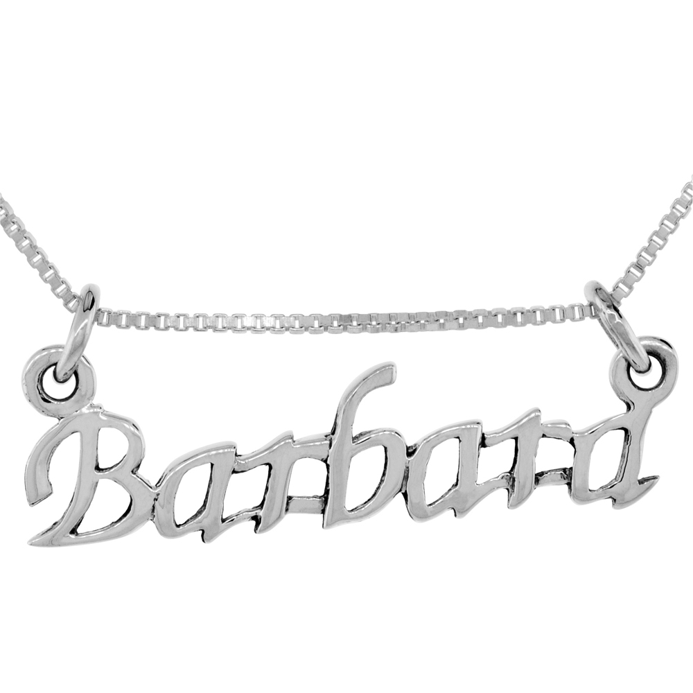Sterling Silver Name Necklace Barbara 3/8 Inch, 17 Inches Long