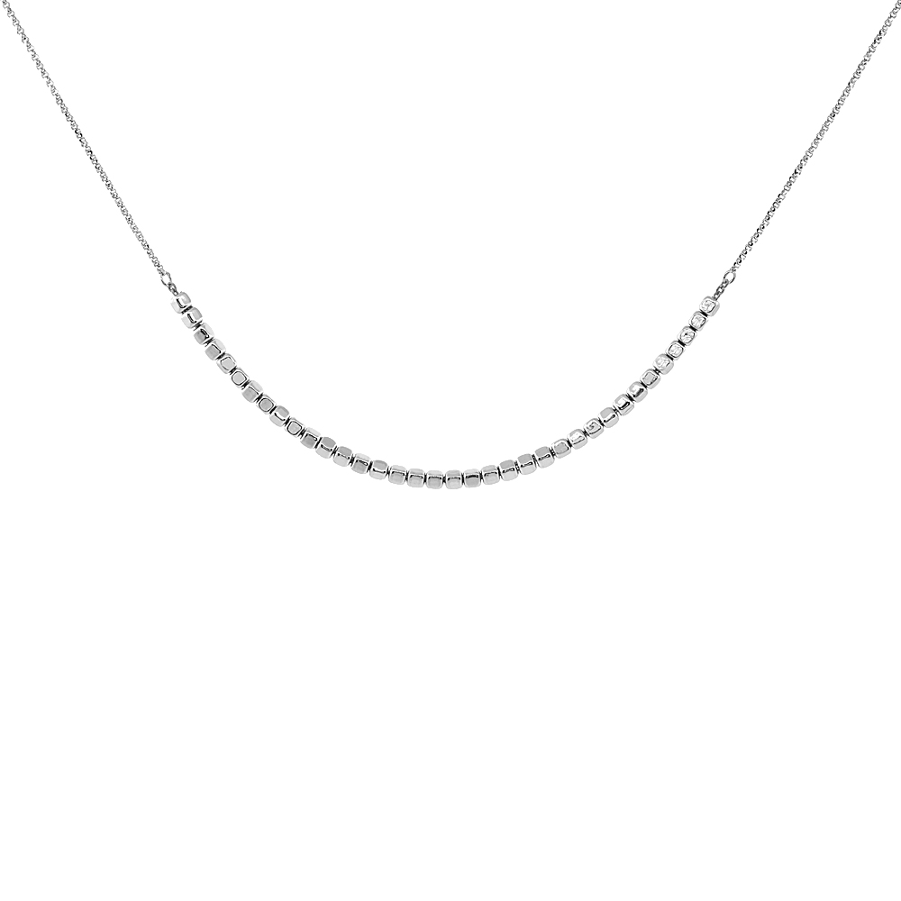 Sterling Silver Italian Square Bead Necklace Rhodium Finish, 16.5 inch long + 2 inch extension