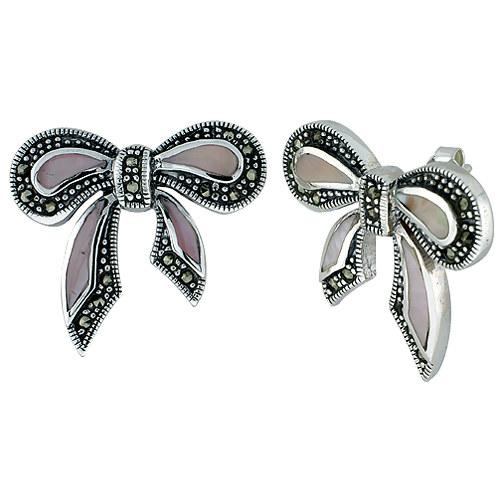 Sterling Silver Natural Marcasite and Pink Shell Bow Earrings, 7/8 inch wide