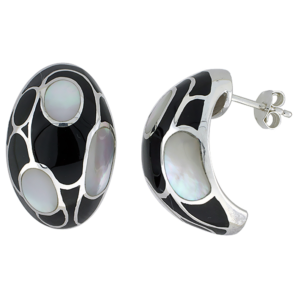 Sterling Silver Natural Shell Black and White Earrings, 5/8 inch wide