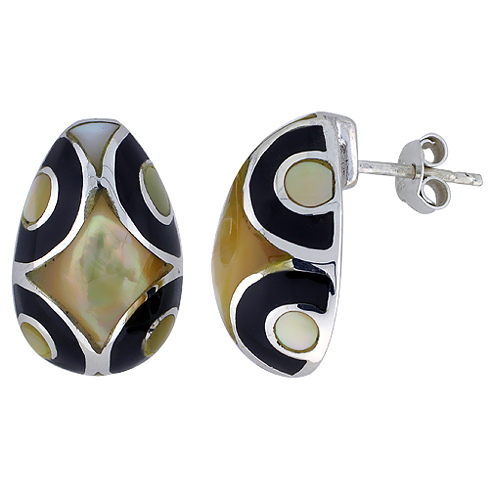 Sterling Silver Geometric Black and White Natural Shell Earrings, 1/2 inch wide