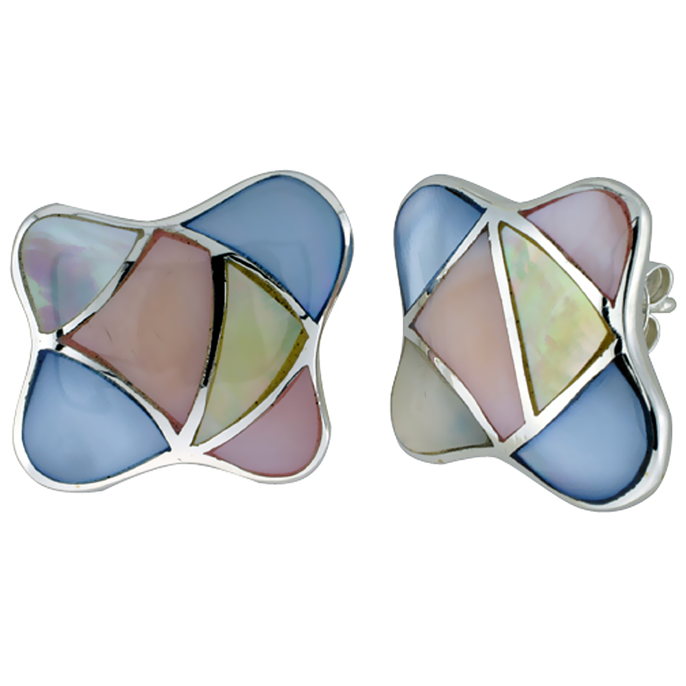 Sterling Silver Colorful Natural Shell Earrings, 7/8 inch wide