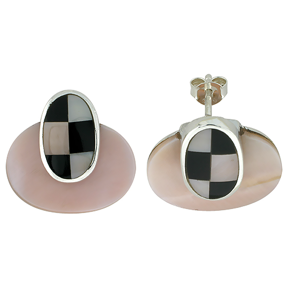 Sterling Silver Natural Pink Shell Earrings Checkerboard Accent, 3/4 inch wide