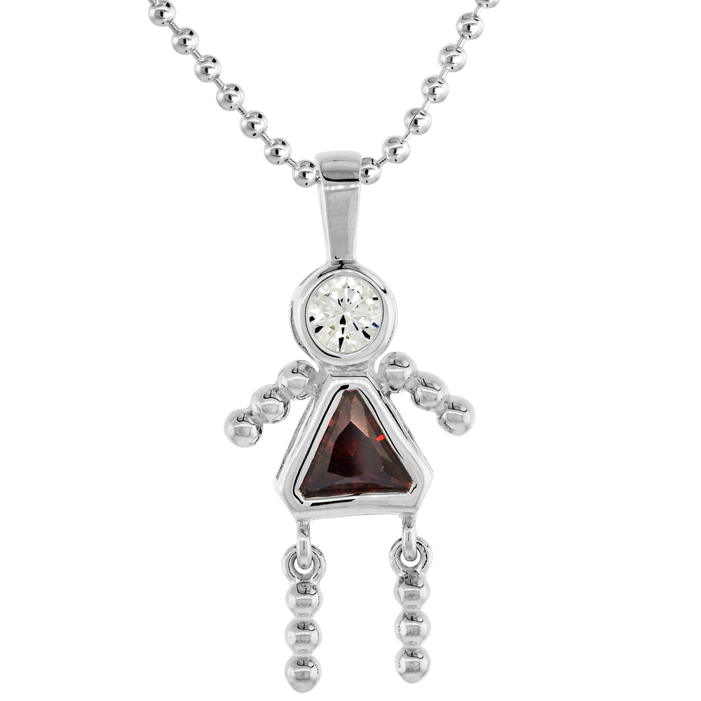 Sterling Silver Birthstone Necklace January Baby Brat Girl Garnet Color Cubic Zirconia, 16 inch