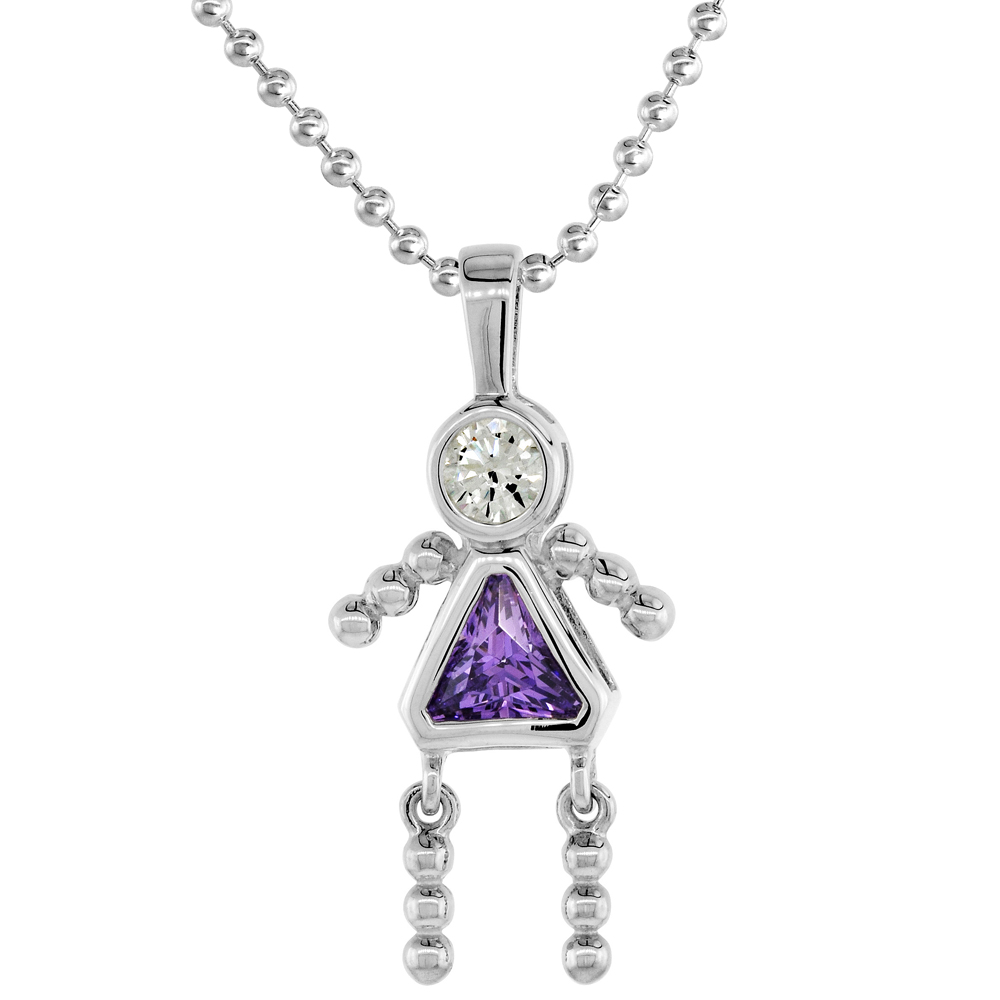 Sterling Silver Birthstone Necklace February Baby Brat Girl Amethyst Color Cubic Zirconia, 16 inch