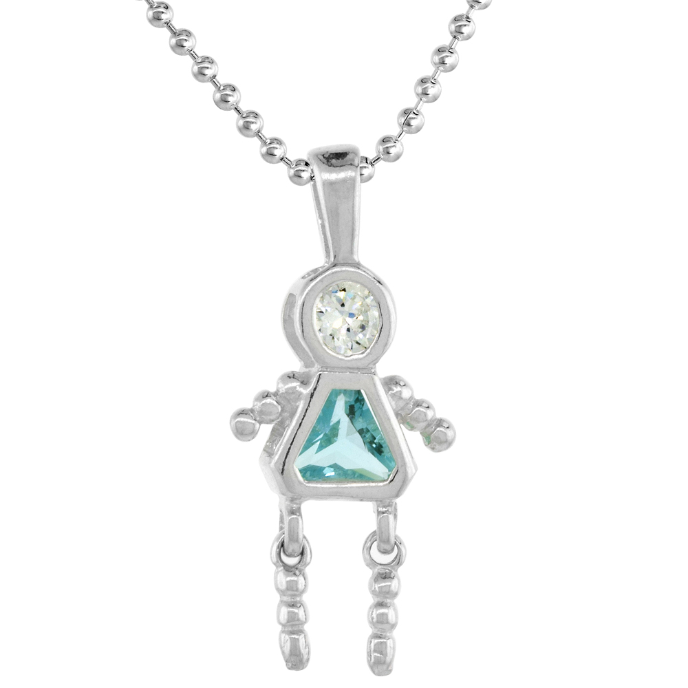 Sterling Silver Birthstone Necklace March Baby Brat Girl Aquamarine Color Cubic Zirconia, 16 inch
