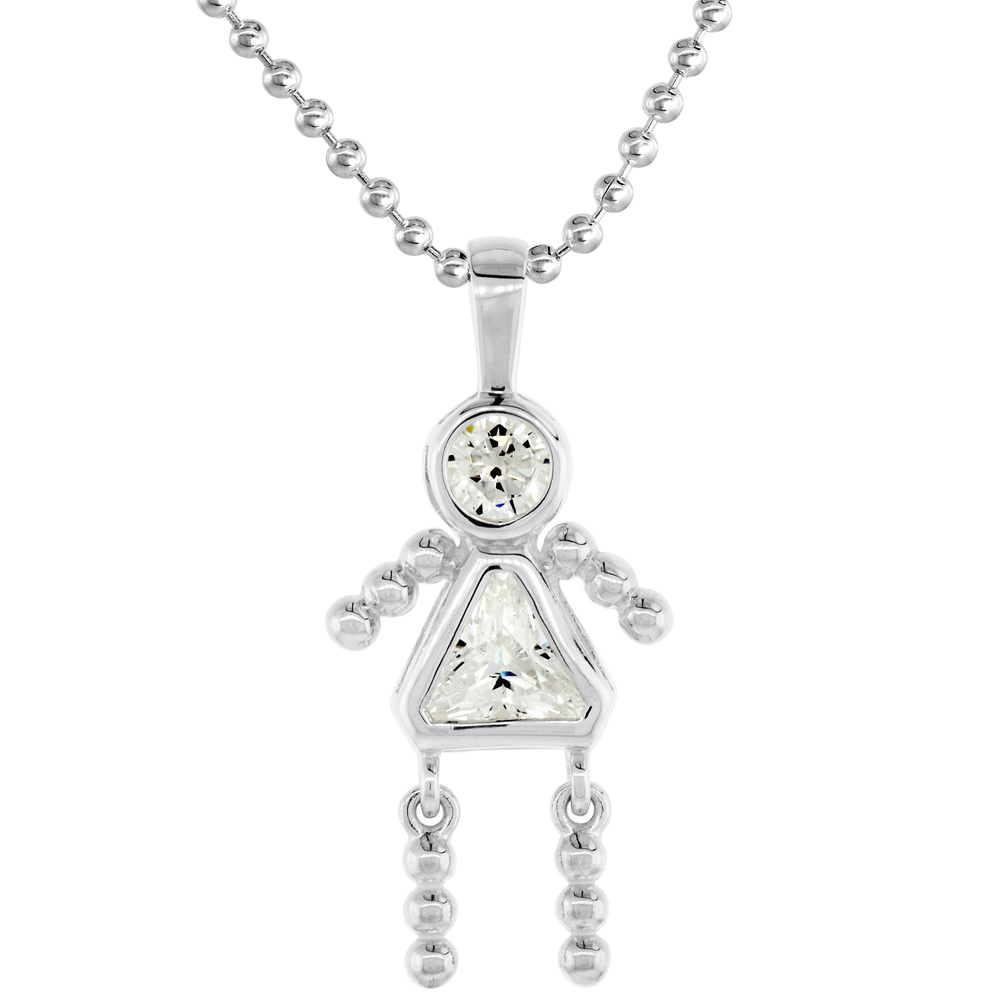Sterling Silver Birthstone Necklace April Baby Brat Girl Clear Color Cubic Zirconia, 16 inch