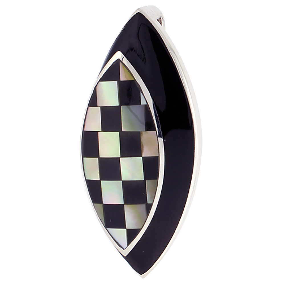 Sterling Silver Natural Black Stripe Shell Checkerboard Pendant Marquise, 9/16 inch wide