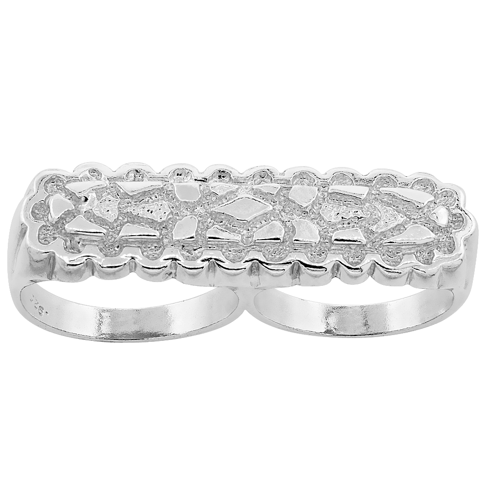 Sterling Silver Two Finger Nugget Ring 7/16 inch wide, sizes 8 - 13