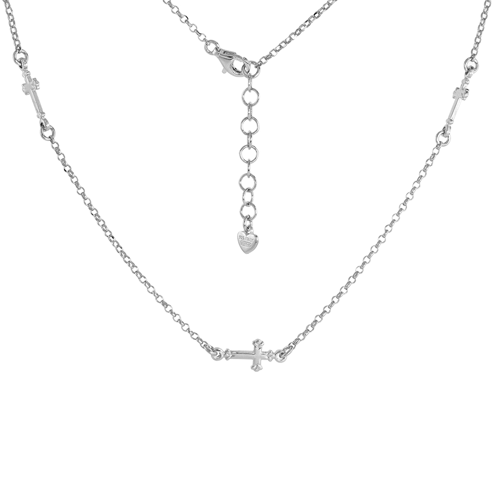 Sterling Silver Tiny Sideways Cross Necklace and Bracelet Rhodium Finish Italy 3/4 inch