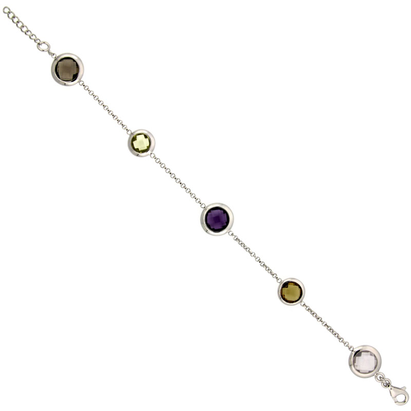 Sterling Silver 7 in. Stone By The Yard Bracelet w/ 16.50 Total Carat Multi Color Gem Stones ( Amethyst, Smoky Topaz, Green Amethyst, Pink Quartz, Smoky Quartz )
