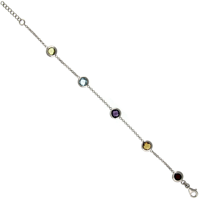 Sterling Silver 7 in. Stone By The Yard Bracelet w/ 5.00 Total Carat Multi Color Gem Stones ( Amethyst, Blue Topaz, Green Amethyst, Citrine, Garnet )
