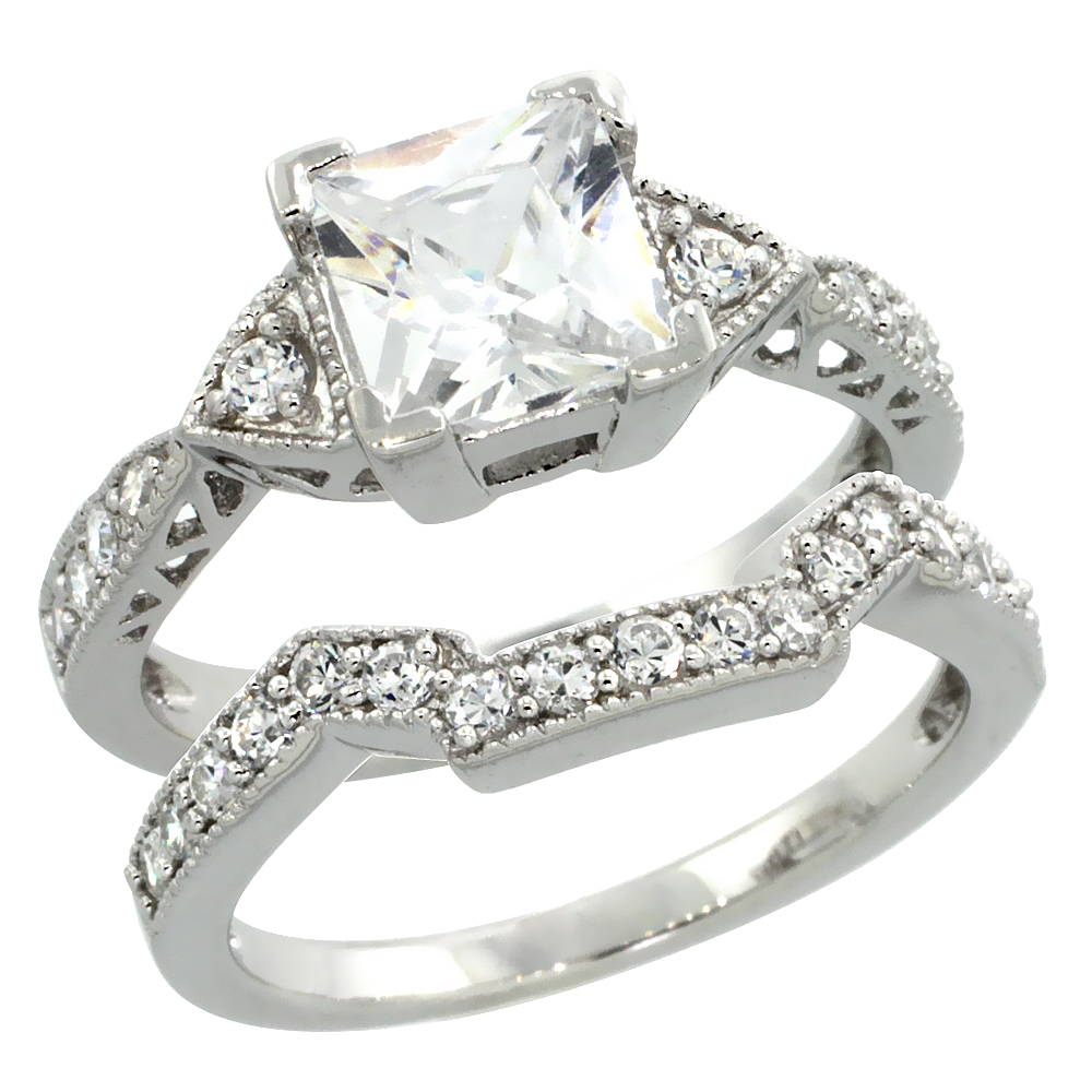 Sterling Silver Vintage Style 2pc Square Engagement Ring Set W Princess 7 Mm Brilliant: 2 Pc Wedding Ring Sets At Reisefeber.org