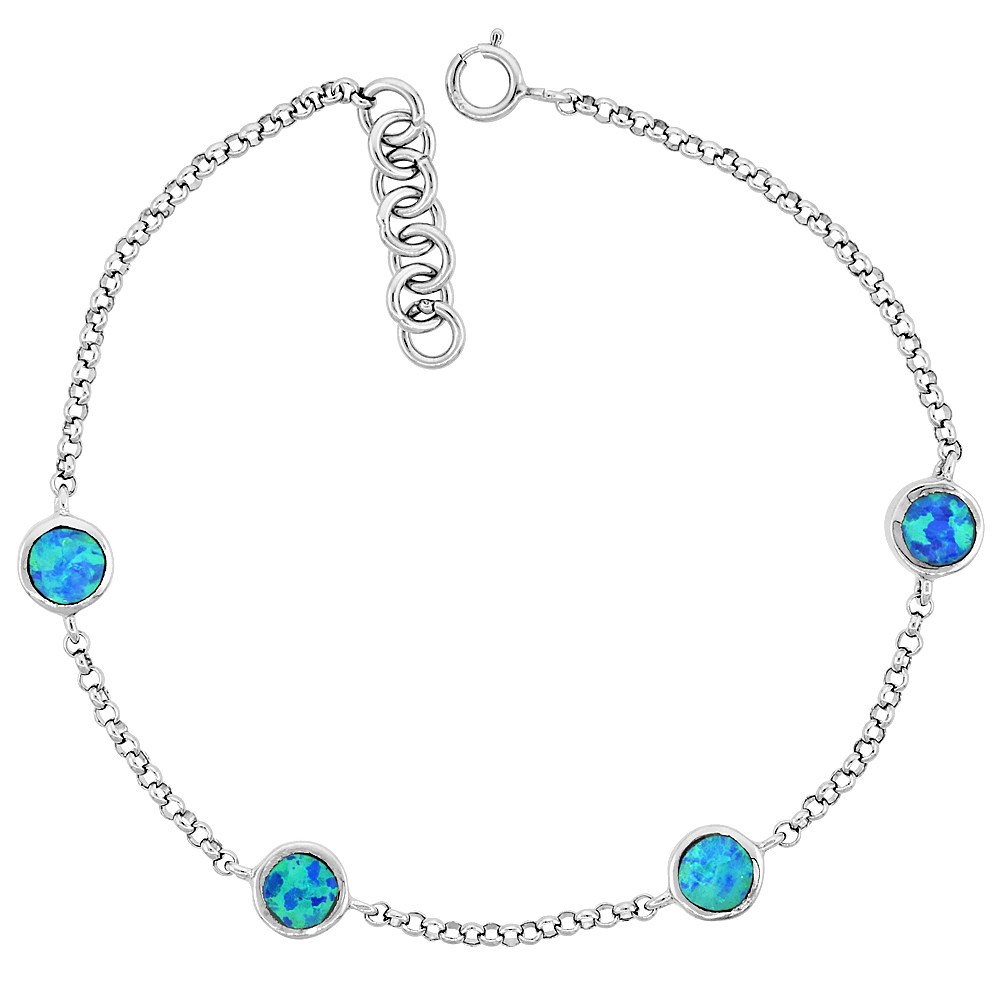 Sterling Silver Station Bracelet Round Links Synthetic Opal inlay, fits 6.5 -7.25 inches
