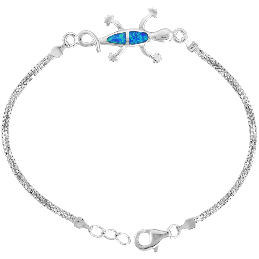 Sterling Silver Synthetic Opal Gecko Bracelet Women lobster lock, 7 1/4 inch long
