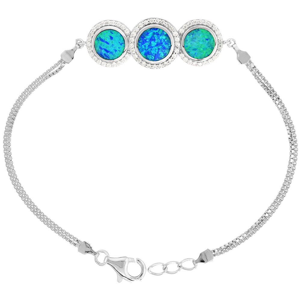 Sterling Silver Synthetic Opal Bracelet 3 Circles CZ Halo Women lobster lock, 7 1/4 inch long