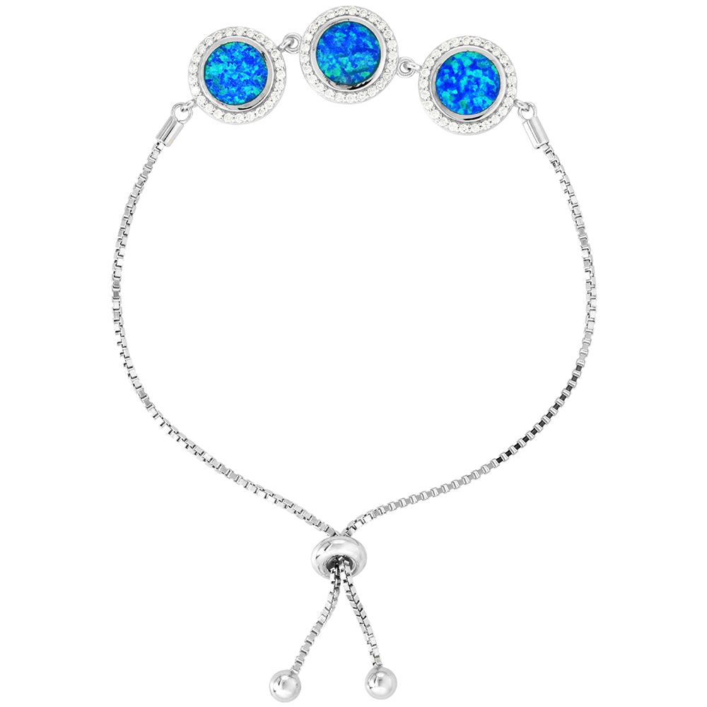 Sterling Silver Synthetic Opal 3 Linked Circles Bolo Bracelet for Women with CZ Halo Sliding Clasp fits 6-7 inch wrists