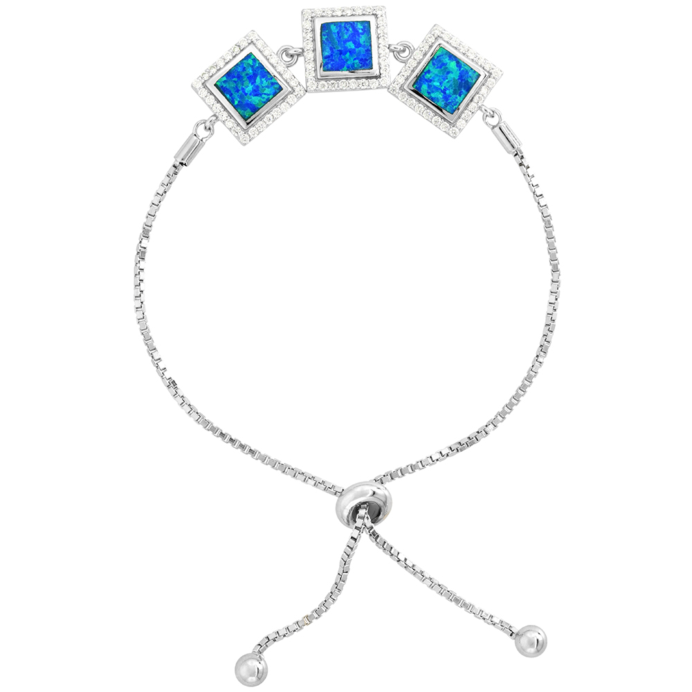 Sterling Silver Synthetic Opal 3-Square Links Bolo Bracelet for Women CZ Halo Sliding Clasp fits 6-7 inch wrists