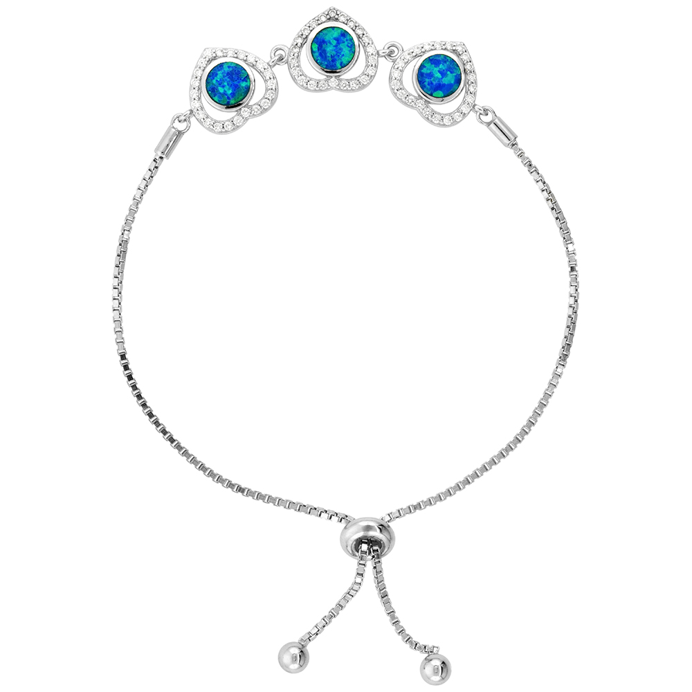 Sterling Silver Synthetic Opal 3 Linked Hearts Bolo Bracelet for Women CZ Halo Sliding Clasp fits 6-7 inch wrists