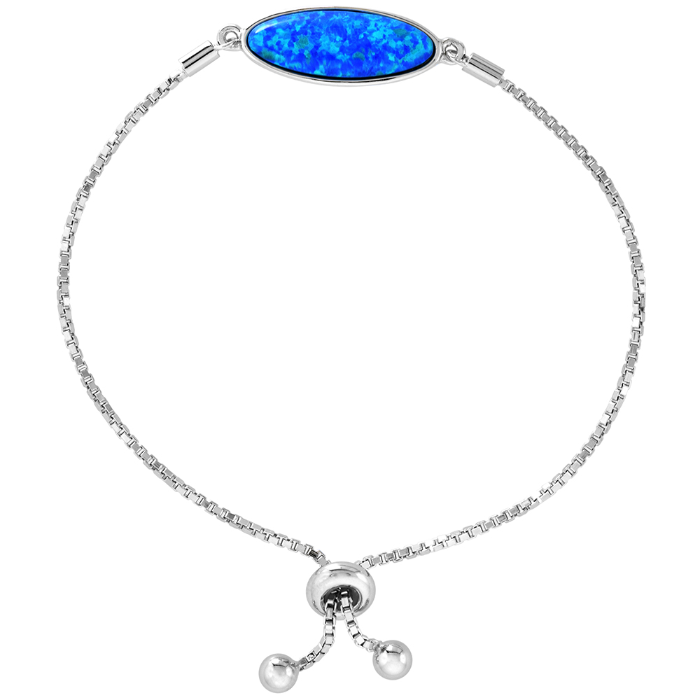 Sterling Silver Synthetic Opal Long Oval Bolo Bracelet for Women Sliding Clasp 6-7 inch
