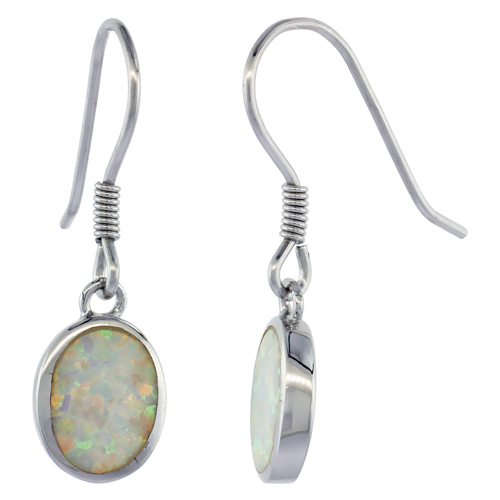 Sterling Silver Dangle Earrings Synthetic White Blue Opal Oval Shape, 1 inch