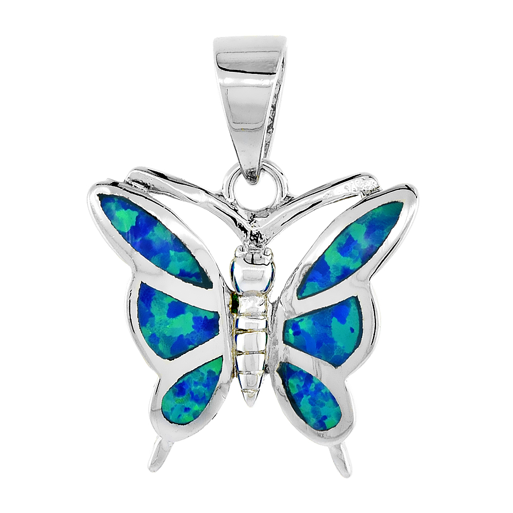 Sterling Silver Synthetic Opal Butterfly Pendant for Women Hand Inlay 5/8 inch