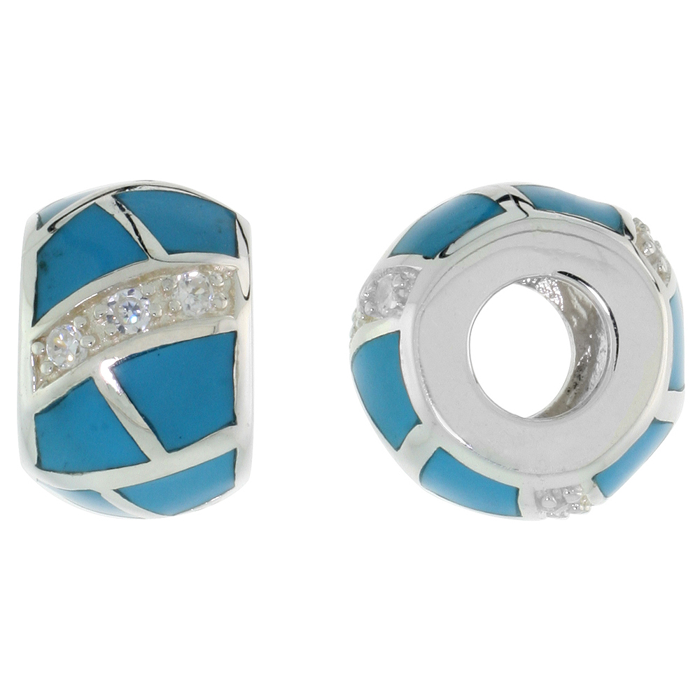 Sterling Silver Reconstituted Turquoise Barrel Charm Bead CZ stones Fits Pandora and all Charm Bracelets, 3/8 inch