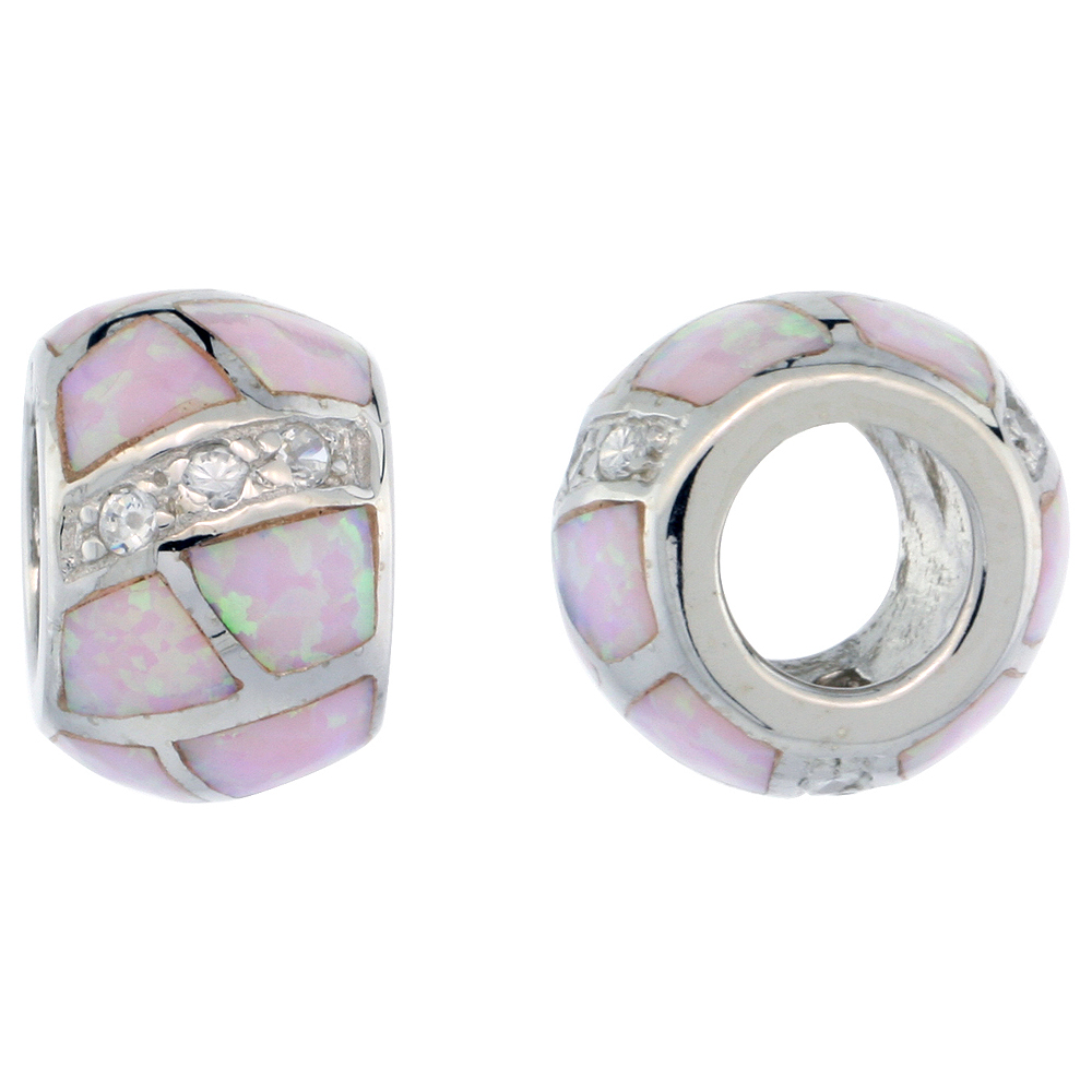 Sterling Silver Synthetic Light Pink Opal Bead Charm CZ stones Fits Pandora and all Charm Bracelets, 3/8 inch