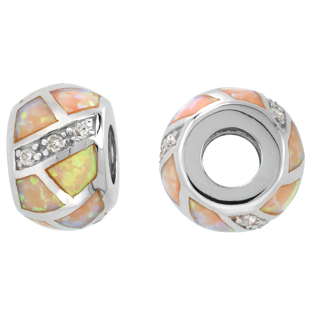 Sterling Silver Synthetic Yellow Opal Bead Charm CZ stones Fits Pandora and all Charm Bracelets, 3/8 inch