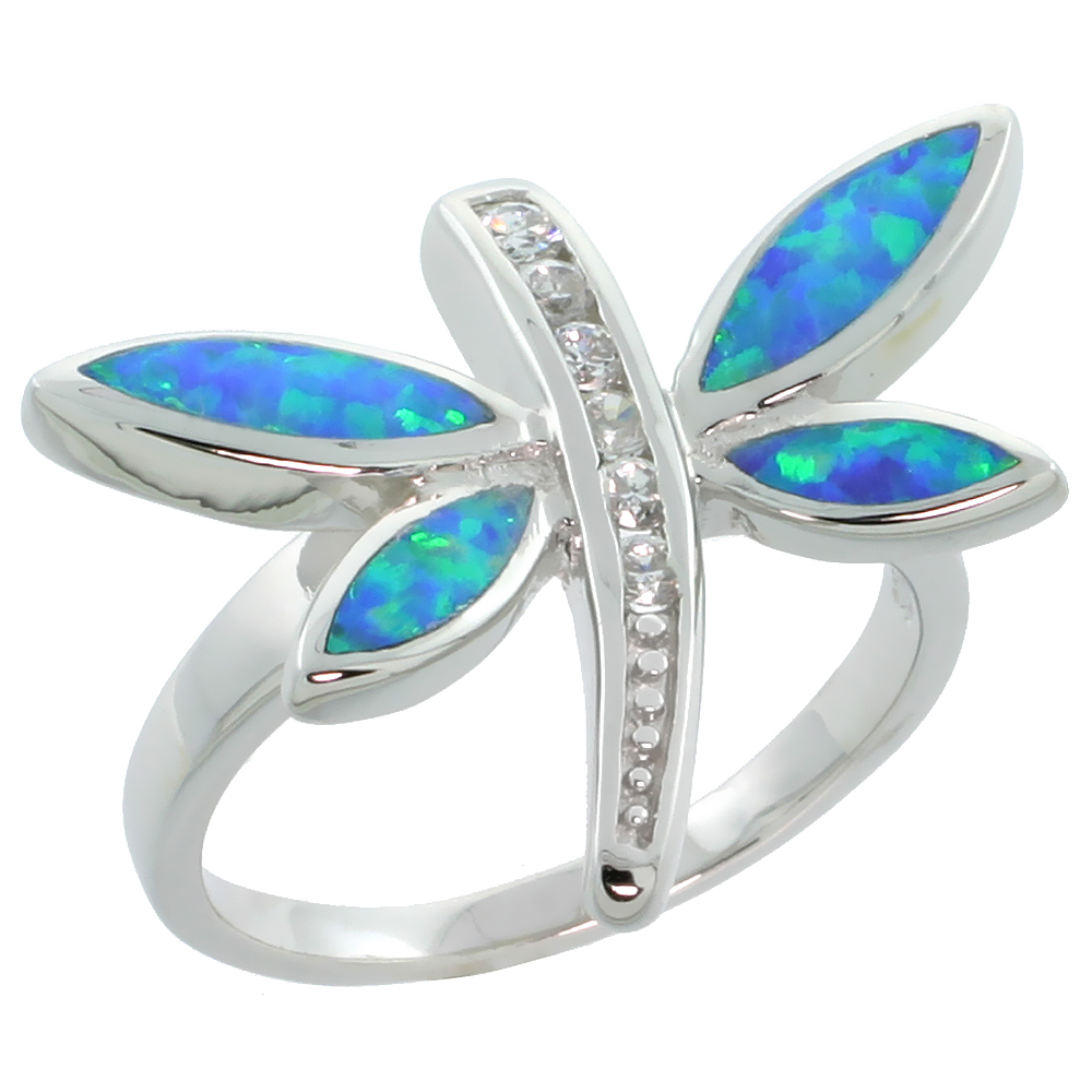 Sterling Silver Synthetic Blue Opal Dragonfly Ring Cubic Zirconia Accent, 11/16 inch