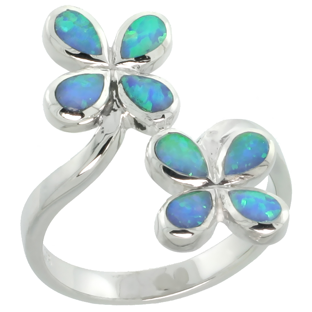 Sterling Silver Blue Synthetic Opal 4 petal Flower Ring for Women 13/16 inch