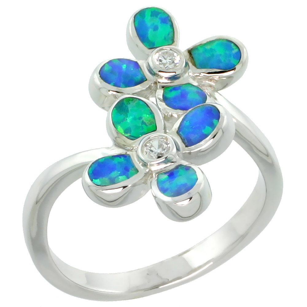 Sterling Silver Blue Synthetic Opal Hawaiian Flower Ring for Women CZ Accent 11/16 inch