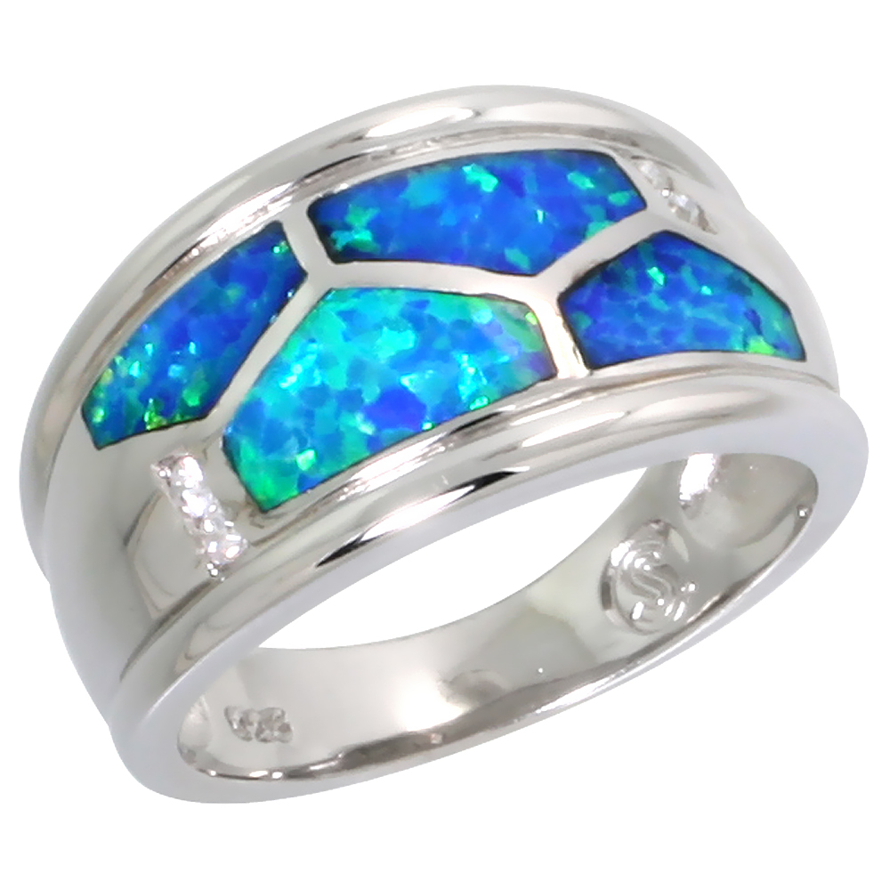 Sterling Silver Blue Synthetic Opal Cigar Band Ring for Women 7/16 inch