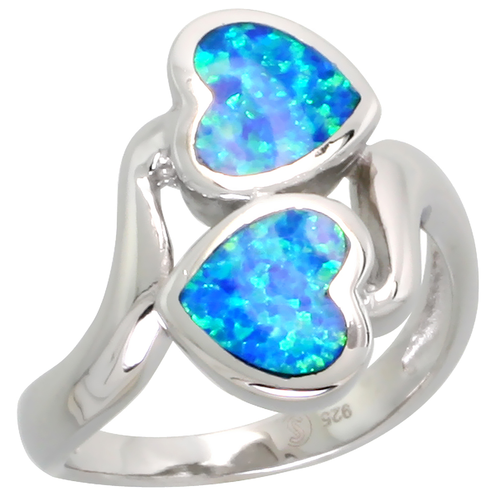 Sterling Silver Synthetic Blue Opal Double Heart Ring Bypass, 3/4 inch