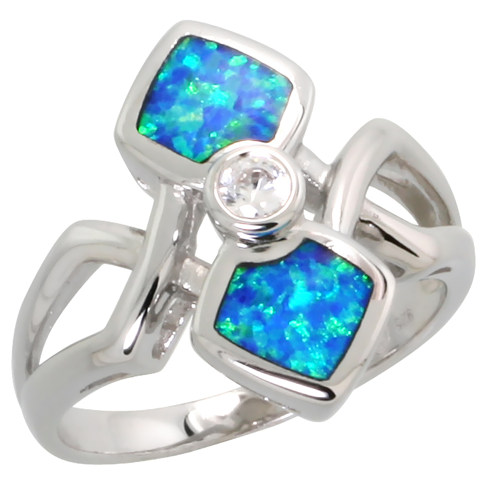Sterling Silver Blue Synthetic Opal 2 Squares Bypass Ring for Women 3/4 inch