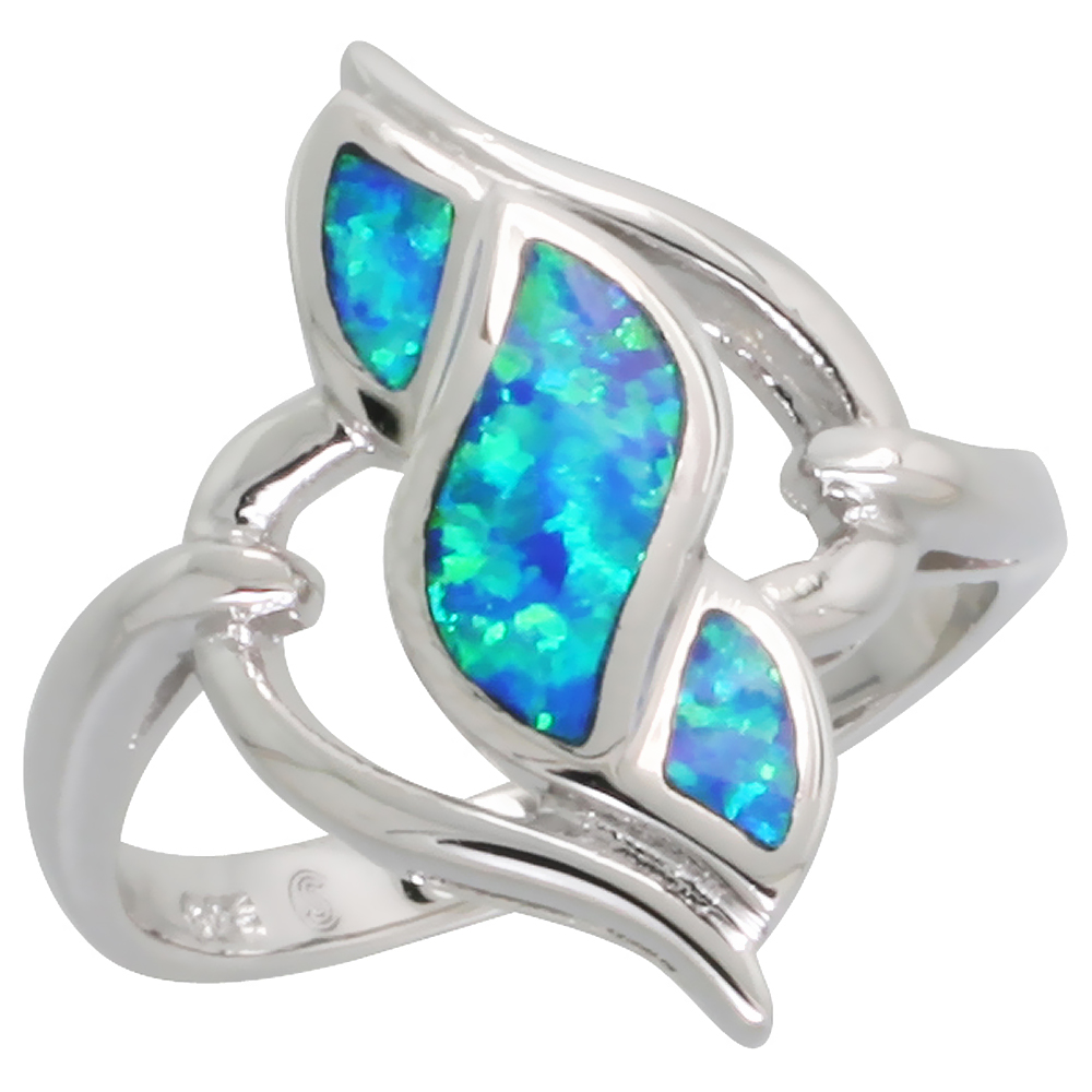 Sterling Silver Synthetic Blue Opal Diamond-shaped Swirl Ring, 13/16 inch