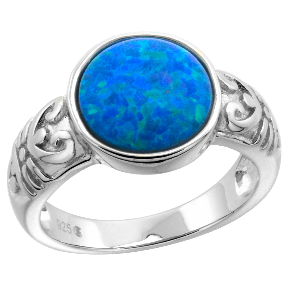 Sterling Silver Synthetic Opal Circle Round Ring for Women with Fertility Symbol 7/16 inch round sizes 6-9