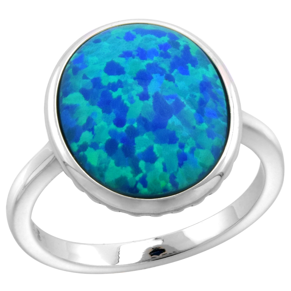 Sterling Silver Synthetic Opal Large Oval Cabochon Ring for Women 5/16 inch wide sizes 6-9